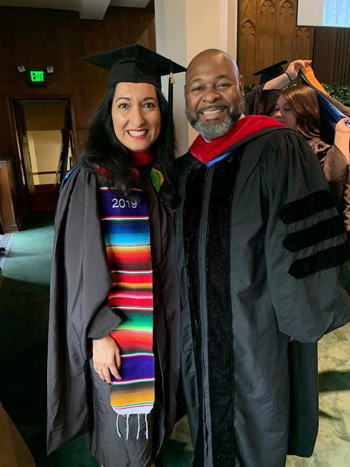 Inés Velásquez-McBryde and Dr. Efrem Smith at Fuller Theological Seminary graduation