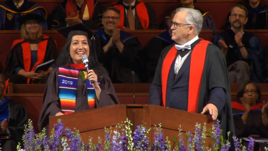Inés Velásquez-McBryde speaking at Fuller Theological Seminary graduation